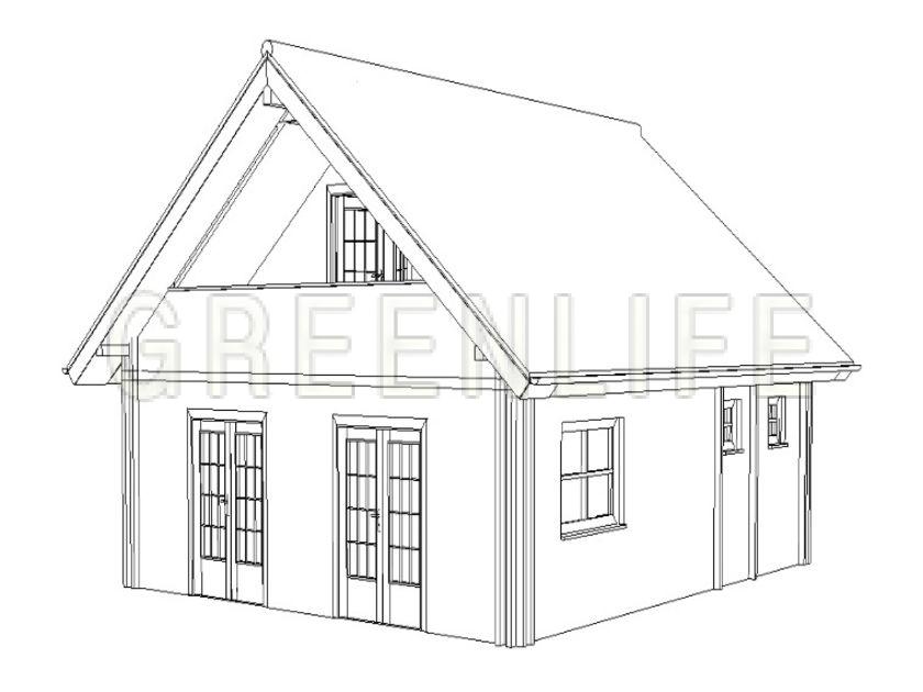 Chalet bois ambra 80 maison bois greenlife for Maison de 40m2