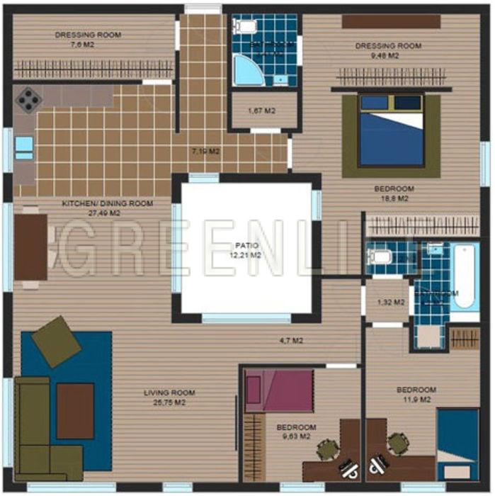 Maison bois azzura 145 maison bois greenlife for Plan maison avec jardin interieur