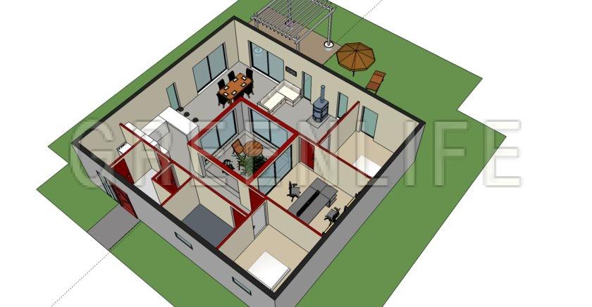 Maison bois azzura 145 maison bois greenlife - Plan maison bois contemporaine ...
