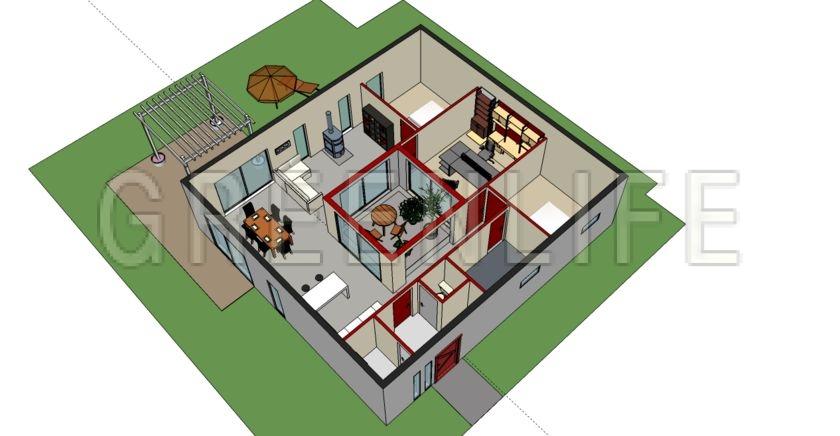 Plan de maison patio central u saint etienne with plan maison patio