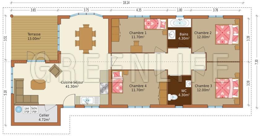 Maison ossature bois eva maison bois greenlife for Plan maison ossature bois