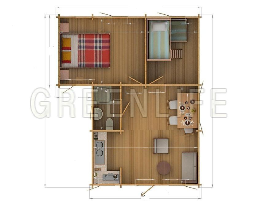 Chalet bois jia 42 maison bois greenlife for Interieur chalet en bois