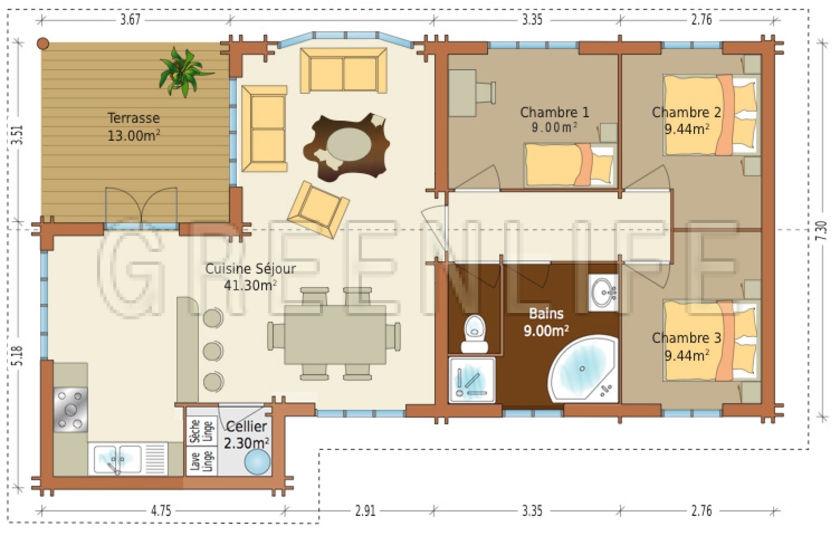 Maison bois louisa 114 maison bois greenlife - Plan petite maison 70 m2 ...