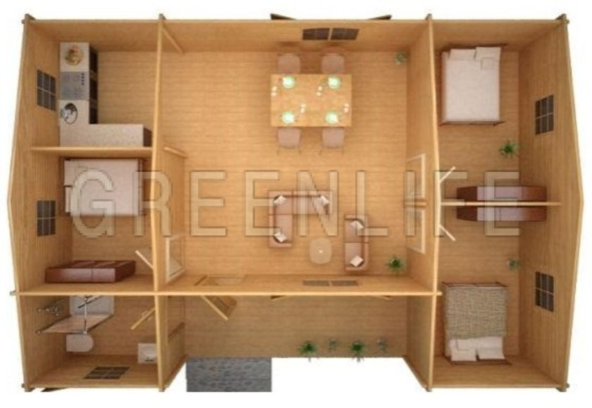 chalet bois tao 70 maison bois greenlife. Black Bedroom Furniture Sets. Home Design Ideas